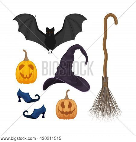 A Festive Set With Halloween Symbols, Such As A Pumpkin Lantern, A Witch S Broom, Witch Boots, A Bat