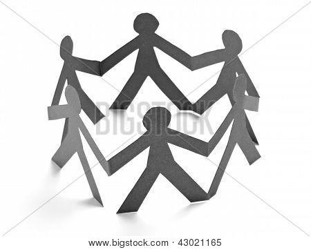 Paper People Shape Cut Connection Chain