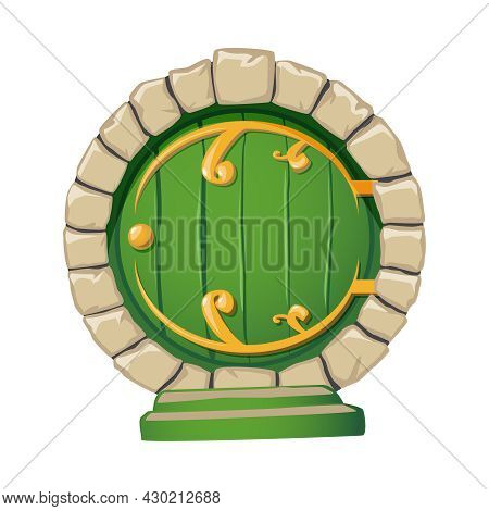 Cartoon Doors Composition With Isolated Image Of Round Door Of Fantasy Hobbits House Vector Illustra