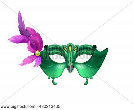 Realistic Carvinal Mask Composition With Isolated Image Of Masquerade Mask With Purple Feathers And