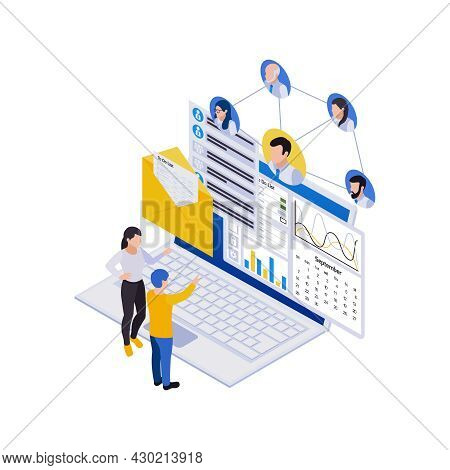 Remote Management Distant Work Isometric Icons Composition With Laptop And Avatars Flowchart With Pe