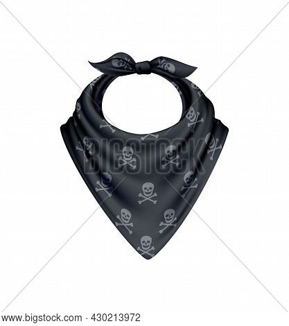 Bandana Scarf Buff Handkerchief Realistic Composition With Isolated Image With Skull And Crossbones
