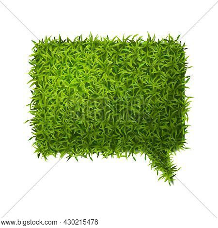 Realistic Green Grass Form Composition With Isolated Piece Of Thought Bubble Shaped Grass Lawn Vecto
