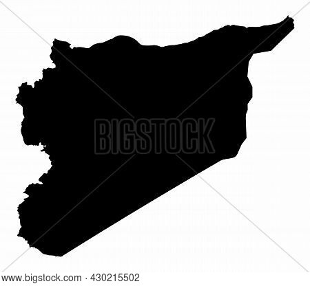 Syria Dark Silhouette Map Isolated On White Background