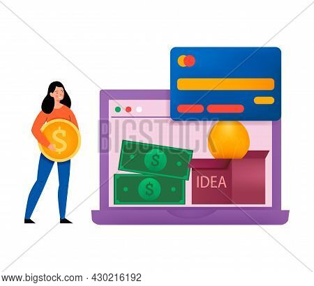 Crowdfunding Composition With Flat Icons Of Laptop With Payment Methods And Girl With Coin Vector Il
