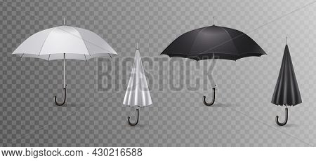 Realistic Umbrella Canes Icon Set Four Umbrellas Open And Close On Transparent Background Vector Ill