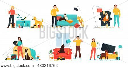 Flat Problem Pets Set With Angry Upset Owners And Dog Making Mess In Living Room Isolated Vector Ill