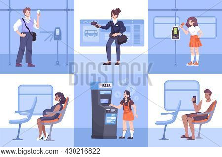 Flat Composition Set With Ticket Inspector And Public Transport Passengers Travelling And Paying Far