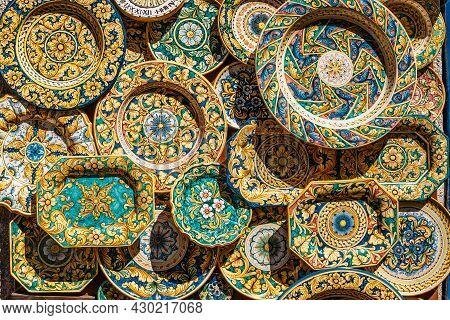 Erice, Sicily. Colorful Hand-decorated Ceramics. Traditional Tourist Suvenir. Street Vendor With Han