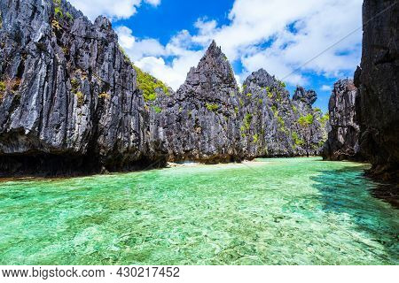 Landscape Of The Beautiful Mountain Cliff And Lagoon, El Nido Province In Palawan Island In Philippi