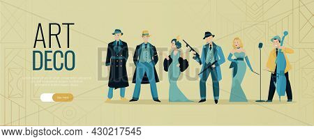 Retro Twenties Horizontal Banner With Editable Text Slider Button And Characters Of People In Vintag