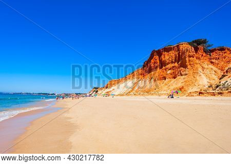 Falesia Beach With Beauty Limestone Cliff In Albufeira City, Algarve Region In Portugal