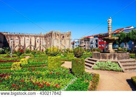 Garden Of Santa Barbara And Archbishop Palace Of Braga In The Centre Of Braga City, Portugal