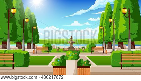 Classical City Suburb Summer Park Landscape With Traditional Topiary Benches Planters Trees Fountain