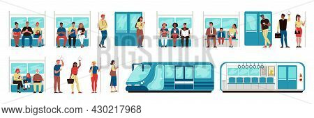People In City Subway Inside Train And Separate Image Of Wagon Set Flat Vector Illustration