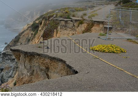 The Eroding And Unstable Cliffs In The Campground At Abalone Point On The Pacific Ocean, Mendocino C