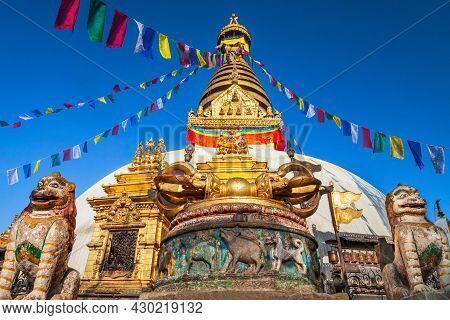 A Vajra Buddhist Ritual Weapon At The Swayambhunath Or Swayambhu Or Monkey Temple, An Ancient Religi