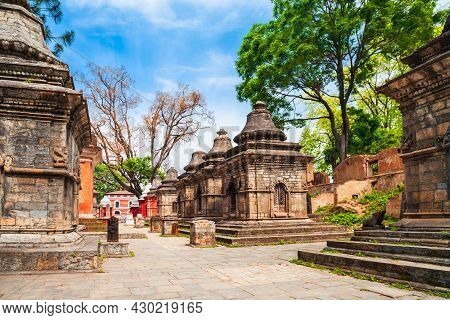 Hindu Shrines On The Other Side Of The Pashupatinath Temple Complex In Kathmandu City In Nepal