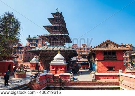 Hindu Temple At The Patan Durbar Square In Lalitpur Or Historically Patan City Near In Kathmandu In