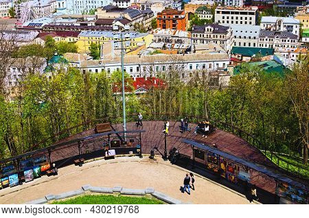 Kyiv, Ukraine-may 04,2021:aerial Landscape Of Viewing Platform On The Famous Artist's Alley. Place W