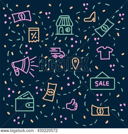 Background Payment In The Online Store. The Concept Of Buying From A Smartphone And Paying Online. B