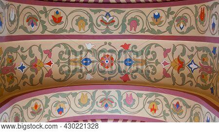 Old Floral Ornamental Frescoed Walls. Close Up Shot