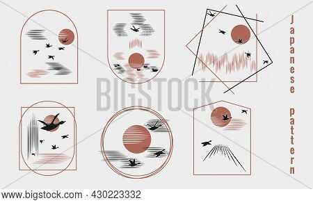 Seagulls Fly Into Bright Sun. Minimalist Pattern In Japanese Style. Sea, Clouds In Sky, Forest, Tree