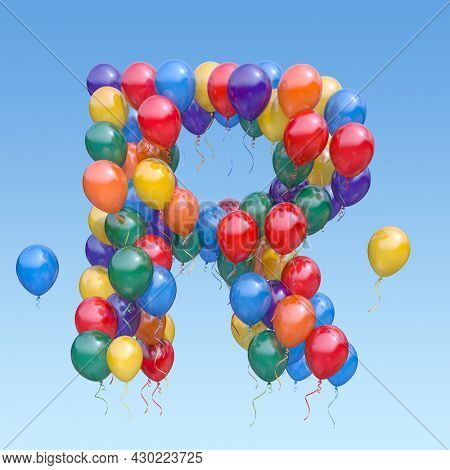Letter R from balloons in the sky. Text letter for  holiday, birthday, celebration. 3d illustration