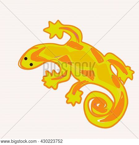 The Lizard Is Yellow With A Graphic Pattern.africa/ Reptile, Animal.