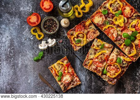 Homemade Baking Detroit-style Pizza. Large Rectangular Pepperoni Pizza With Mushrooms, Salami And Ch