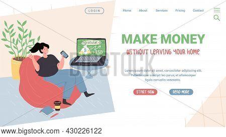 Vector Cartoon Flat Character Enjoys Trading Success.young Girl Happy With Stock Market, Forex Profi
