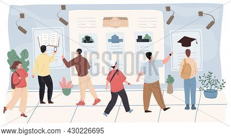 Vector Cartoon Flat Student Characters Boys Girls At Institute, College Bulletin Board.young People