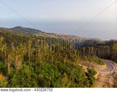 Aerial View Of Atlantic Coastal City Of Funchal, Madeira.