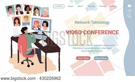 Vector Flat Cartoon Characters Using Online Video Messenger Conference Communication.happy Man Talk