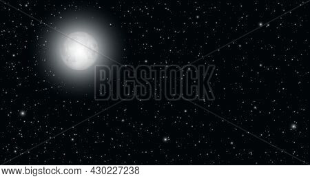 Bright Moonlight On The Starry Sky. Realistic Moonrise. Dark Sky With Moon Glowing. Natural Panorami