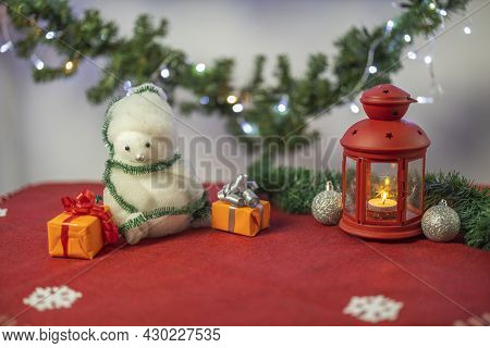 View Of Christmas Decoration Objects On Red Carpet. Christmas Holiday Concept.  Postcard. Sweden.