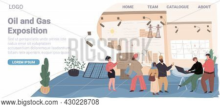 Vector Cartoon Flat Characters-exhibitors And Visitors At Oil And Gas Industry Exposition.exhibition