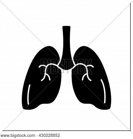 Lungs Glyph Icon. Medical Treatment. Respiratory Organ. Human Internal Organs Concept.filled Flat Si