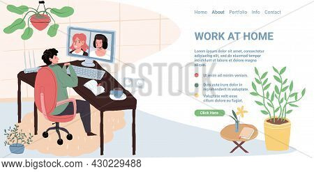 Vector Cartoon Flat Character Talk Online With Colleagues.young People Discuss Business, Distance Wo
