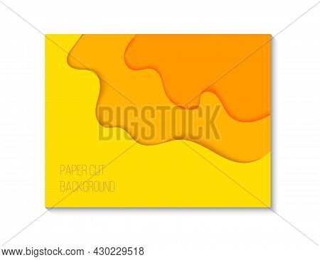 Abstract Papercut Background With Orange And Yellow Waves. Vector Illustration