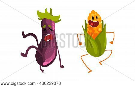 Funny Humanized Vegetables With Open Mouth Shouting And Laughing Vector Set