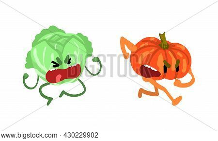 Funny Humanized Vegetables Shouting In Anger And Frowning Vector Set