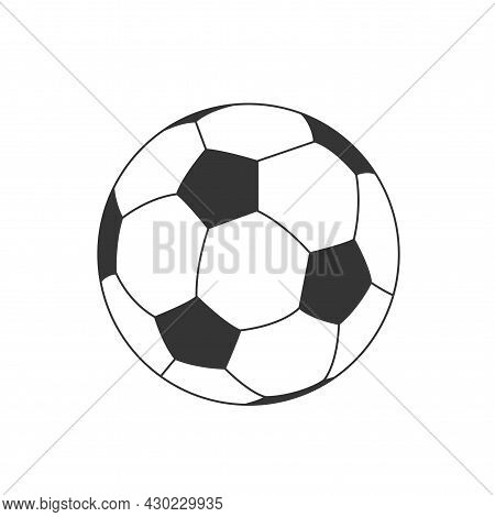 Football Soccer Ball Simple Illustration. Vector Graphic Icon. Football Match Game