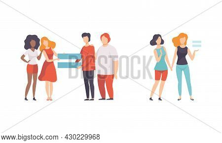 Man And Woman With Equal Sign As Gender Equity Vector Set