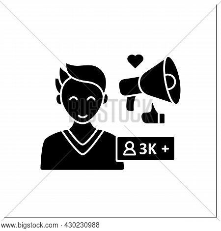 Micro Influencer Glyph Icon. Blogger With Three Thousand Plus Subscribers. Low Influence On People.