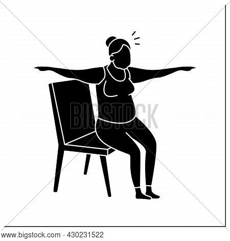 Chair Yoga Glyph Icon. Old Woman Sitting On Chair. Yoga Exercises. Sport Life. Prevention Diseases.