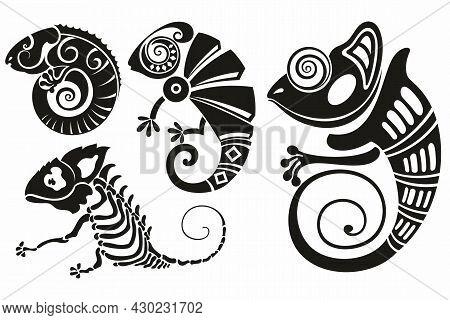 Chameleon Lizard Reptile Black Silhouette Animal. Tattoo Chameleon Lizard