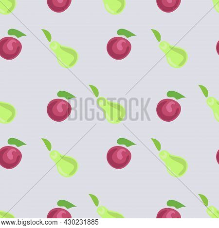 Seamless Pattern Of Pears And Cherries On A Light Background. Pear And Cherry. The Vector Is Made In