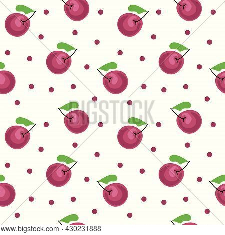 Cherries Seamless Pattern On A Light Background. Cherry. The Vector Is Made In A Flat Style. Suitabl