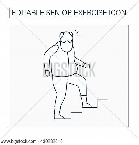 Stair Climbing Line Icon. Physical Activity. Cardio Workout. Keeps Muscle In Tonus. Senior Exercise